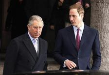<p>Britain's Prince Charles (L) and Prince William leave a charity event at city company ICAP, in central London December 8, 2010. REUTERS/Suzanne Plunkett</p>