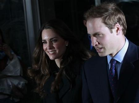 Prince William and Kate Middleton leave after signing a book of condolence for the victims of the earthquake at the New Zealand High Commission in London February 25, 2011. REUTERS/Luke MacGregor