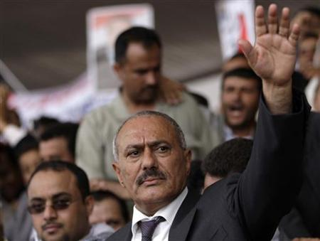 Yemen's President Ali Abdullah Saleh waves to supporters during a rally in Sanaa, April 1, 2011. REUTERS/Khaled Abdullah