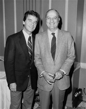 Television personality Dick Clark (L) is shown with his publicist Gene Shefrin, in this undated publicity photo released to Reuters April 11, 2011. REUTERS/Shefrin Family/Handout