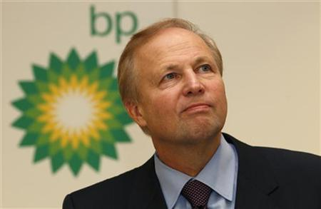 BP's Chief Executive Bob Dudley speaks to the media after year-end results were announced at the energy company's headquarters in London February 1, 2011. REUTERS/Suzanne Plunkett