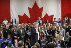 <p>Conservative leader and Canada's Prime Minister Stephen Harper speaks during a campaign rally in Kitchener, Ontario April 8, 2011. Canadians will head to the polls in a federal election on May 2. REUTERS/Chris Wattie</p>