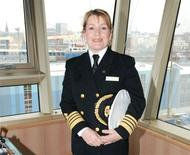<p>Captain Inger Olsen aboard the Queen Victoria in Los Angeles, 2011. REUTERS/Cunard Line</p>