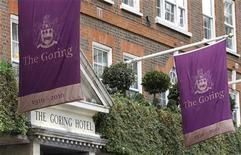 <p>Flags are seen flying outside the Goring Hotel in London in this April 13, 2011 file photograph. REUTERS/Suzanne Plunkett/Files</p>