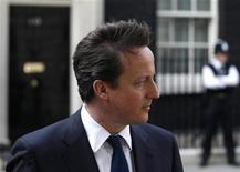 <p>Britain's Prime Minister David Cameron speaks to the media after meeting with his Slovenian counterpart Borut Pahor, at number 10 Downing Street in London April 12, 2011. REUTERS/Stefan Wermuth</p>