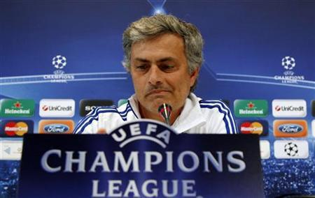 Real Madrid's coach Jose Mourinho reacts during his news conference at club's training ground in Madrid April 26, 2011 on the eve of the Champions League semi-final first leg soccer match against Barcelona. REUTERS/Sergio Perez