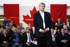 <p>Conservative leader and Canada's Prime Minister Stephen Harper listens to a question during a campaign event in Sault Ste. Marie, Ontario April 25, 2011. REUTERS/Chris Wattie</p>