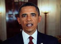 <p>Captura de pantalla del presidente estadounidense, Barack Obama, durante el anuncio de la muerte de Osama bin Laden en Washington, mayo 1 2011. Más de 56 millones de estadounidenses vieron el discurso transmitido por televisión del presidente Barack Obama sobre la muerte de Osama bin Laden, según la información de índices dada a conocer el martes. REUTERS/Pool</p>