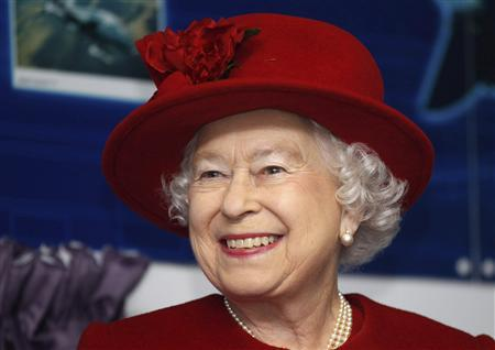 Queen Elizabeth smiles during her visit to her grandson, Prince William, at RAF Valley, in north Wales , in this file picture taken April 1, 2011. REUTERS/Christopher Furlong/Pool/Files