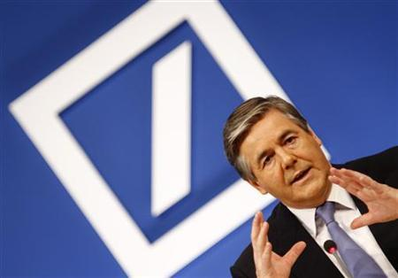Josef Ackermann, CEO of Germany's largest business bank, Deutsche Bank AG, addresses the media during the annual news conference of his bank in Frankfurt February 3, 2011. REUTERS/Kai Pfaffenbach