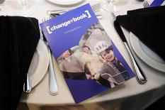 """<p>Ontario Progressive Conservative leader Tim Hudak's election platform named """"changebook"""" sits on a table before he speaks to the economic community at a club luncheon in Toronto, June 1, 2011. REUTERS/Mark Blinch</p>"""