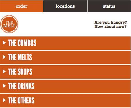 Screenshot showing grilled cheese sandwich chain The Melt's iPhone app. Image obtained on June 2, 2011. REUTERS/Handout