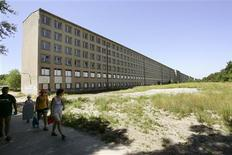 <p>A file picture taken July 12, 2005 shows the biggest hotel the world never saw - a forbidden hulk of 10,000 rooms built by German Nazi leader Adolf Hitler as a holiday camp to ready the masses for war, stretched along three miles of one of Germany's best beaches in Prora on the Baltic Sea island of Ruegen. REUTERS/Arnd Wiegmann</p>