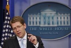 <p>جاي كارني المتحدث باسم البيت الابيض في واشنطن يوم 4 مايو ايار 2011. تصوير: جيم يانج - رويترز</p>