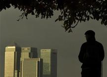 <p>A man looks towards the Canary Wharf financial district from Greenwich Park in South East London November 2, 2010. REUTERS/Toby Melville</p>