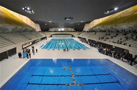 PSynchronised Swimmers Form The Number One For Media Year Before Start Of London 2012 Olympics At Aquatics Centre Olympic Park