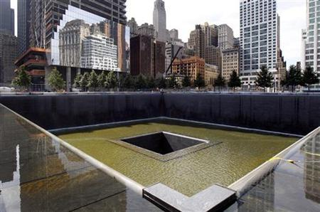 A general view shows the south pool waterfall as work continues on the National September 11 Memorial and Museum at the World Trade Center site in New York July 28, 2011. REUTERS/Mike Segar