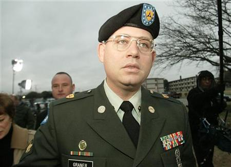 U.S. Army SPC Charles Graner arrives for day two of his court martial at Fort Hood, Texas January 11, 2005 on charges in connection with prisoner abuse at the Iraq Abu Ghraib prison. REUTERS/Jeff Mitchell