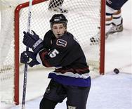 <p>Former Vancouver Canucks Rick Rypien celebrates his first ever NHL goal during play against the Edmonton Oilers in Vancouver, British Columbia in this December 21, 2005 file photo. REUTERS/Andy Clark/Files</p>