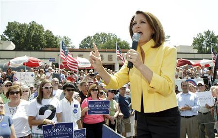 U.S. Republican presidential candidate and Minnesota Congresswoman Michele Bachmann (R-MN) speaks at the ''Join Team Bachmann!'' rally in Spartanburg, South Carolina, August 16, 2011. REUTERS/Patrick Collard