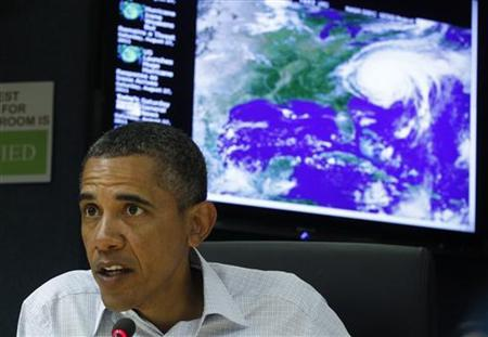 U.S. President Barack Obama speaks about Hurricane Irene during a visit to the National Response Coordination Center at FEMA Headquarters in Washington August 27, 2011. REUTERS/Kevin Lamarque
