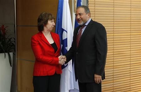 Israel's Foreign Minister Avigdor Lieberman (R) shakes hands with European Union's Foreign Policy Chief Catherine Ashton before their meeting in Jerusalem September 14, 2011. REUTERS/Baz Ratner