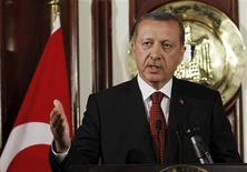 <p>Turkey's Prime Minister Recep Tayyip Erdogan speaks during a news conference with Egypt's Prime Minister Essam Sharaf at the Prime Minister's building in Cairo September 13, 2011. REUTERS/Mohamed Abd El-Ghany</p>
