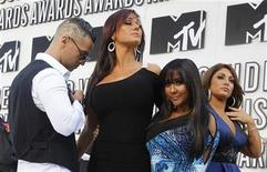 """<p>""""Jersey Shore"""" cast members (L-R) Michael """"The Situation"""" Sorrentino, Jenni """"JWoww"""" Farley, Nicole """"Snooki"""" Polizzi and an unidentified member pose at the 2010 MTV Video Music Awards in Los Angeles, California, September 12, 2010. REUTERS/Mario Anzuoni</p>"""