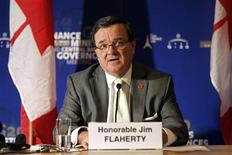 <p>Canada's Finance Minister Jim Flaherty holds a news conference at the end of the G20 meeting of Finance Ministers and Central Bank Governor at the ministry in Paris October 15, 2011. REUTERS/Charles Platiau</p>