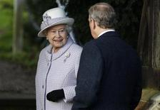 <p>Britain's Queen Elizabeth and Prince Edward arrive for a Christmas Day service at St Mary Magdalene Church on the Royal estate at Sandringham, Norfolk in east England December 25, 2011. REUTERS/Suzanne Plunkett</p>