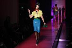 <p>A model presents a creation by French designer Jean Paul Gaultier as part of his Haute Couture Spring-Summer 2012 fashion show in Paris January 25, 2012. REUTERS/Gonzalo Fuentes</p>