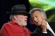 """<p>Co-stars Nick Nolte (L) and Dustin Hoffman chat during the panel for the HBO television series """"Luck"""" at the Television Critics Association winter press tour in Pasadena, California January 13, 2012. REUTERS/Mario Anzuoni</p>"""