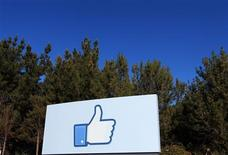 """<p>A giant """"like"""" icon made popular by Facebook is seen at the company's new headquarters in Menlo Park, California, in this January 11, 2012 file picture. REUTERS/Robert Galbraith/Files</p>"""