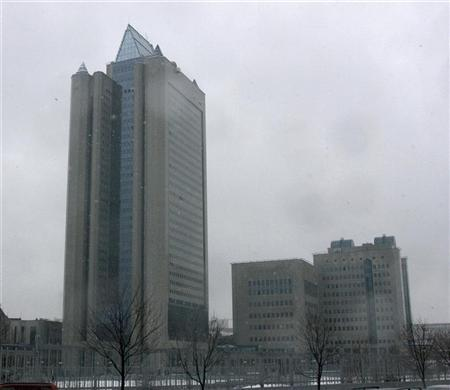 General view of the headquarters of Russian gas export monopoly Gazprom in Moscow March 3, 2008. REUTERS/Sergei Karpukhin