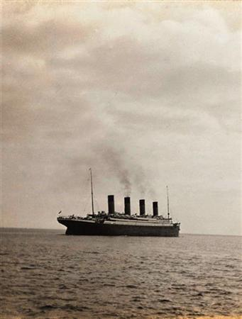 A hand out image released May 19, 2003 shows a photo of the Titanic. REUTERS/Christie's NMB/JV