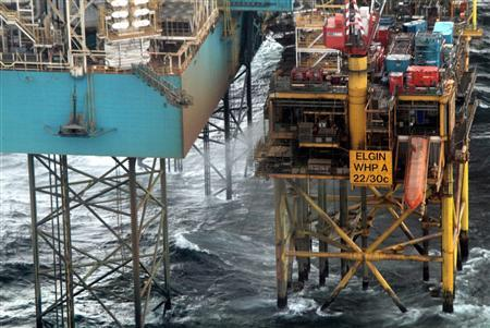 The Elgin platform in the North Sea is seen in this undated photograph received in London on March 30, 2012. Signs of trouble aboard a North Sea drilling platform where a natural gas leak has triggered fears of a massive explosion began in a plugged well a month ago, operator Total said on Friday. Total said the photograph was taken on March 29, 2012 . REUTERS/Total E&P/Handout