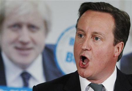 Britain's Prime Minister David Cameron speaks during London Mayor Boris Johnson's re-election campaign rally in Orpington, southeast London, April 17, 2012. REUTERS/Luke MacGregor