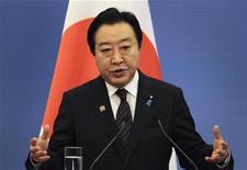 <p>Le Premier ministre japonais Yoshihiko Noda. Le produit intérieur brut nippon a augmenté de 1% de janvier à mars par rapport au trimestre précédent, un rebond favorisé par une hausse de la consommation, par la reconstruction après le séisme du 11 mars 2011 et par une certaine amélioration des exportations, selon les statistiques gouvernementales diffusées jeudi. /Photo prise le 13 mai 2012/REUTERS/Petar Kujundzic</p>