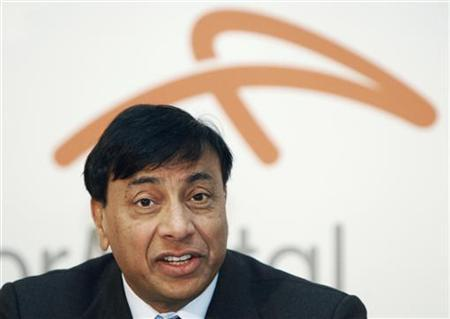 Chairman and Chief Executive Officer Lakshmi Mittal answers a question as he presents Year 2009 results of Arcelor Mittal steel group during a news conference in Luxembourg February 10, 2010. REUTERS/Thierry Roge