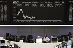 <p>Les Bourses européennes évoluent en légère hausse à la mi-séance, les initiatives des investisseurs restant limitées dans l'attente du sommet européen de jeudi et vendredi à Bruxelles. À Francfort, le Dax prend 0,17%. À Paris, le CAC 40 progresse de 0,30% et à Londres, le FTSE avance de 0,44%. /Photo prise le 27 juin 2012/REUTERS/Remote/Pawel Kopczynski</p>