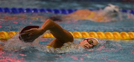 Australian Olympic swimmer Stephanie Rice trains ahead of the London 2012 Olympic Games at the Aquatic centre in Manchester, northern England, July 20, 2012. REUTERS/Nigel Roddis