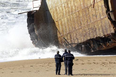 Cargo ship breaks up off France