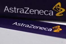 Le laboratoire pharmaceutique britannique AstraZeneca, qui tente de repousser une offre d'achat de quelque 106 milliards de dollars (76 milliards d'euros) de son concurrent américain Pfizer, prévoit un chiffre d'affaires de 45 milliards de dollars d'ici 2023. /Photo prise le 28 avril 2014/REUTERS/Stefan Wermuth