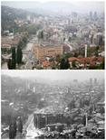 A combination photo shows the National Library burning after shelling in the besieged Bosnian capital of Sarajevo on August 26, 1992 (bottom), and after being renovated on May 8, 2014. REUTERS/Hidajet Delic (bottom)/Dado Ruvic