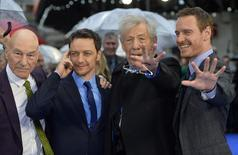 British actors Patrick Stewart (L-R), James McAvoy, Ian McKellen and Irish-German actor Michael Fassbender arrive for the British premiere of 'X-Men: Days of Future Past' at Leicester Square in London May 12, 2014.  REUTERS/Toby Melville