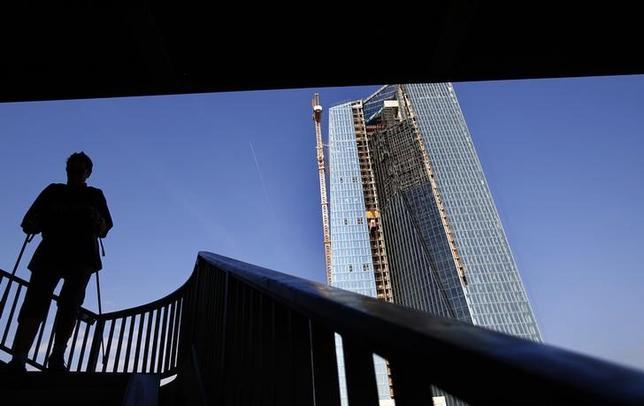 5月28日、ECBは投資家による利益の追求が新たな価格のバブルを引き起こしている可能性があると警告。写真は昨年8月28日、フランクフルトにある建設中のECB新ビル前で撮影(2014年 ロイター/Kai Pfaffenbach)