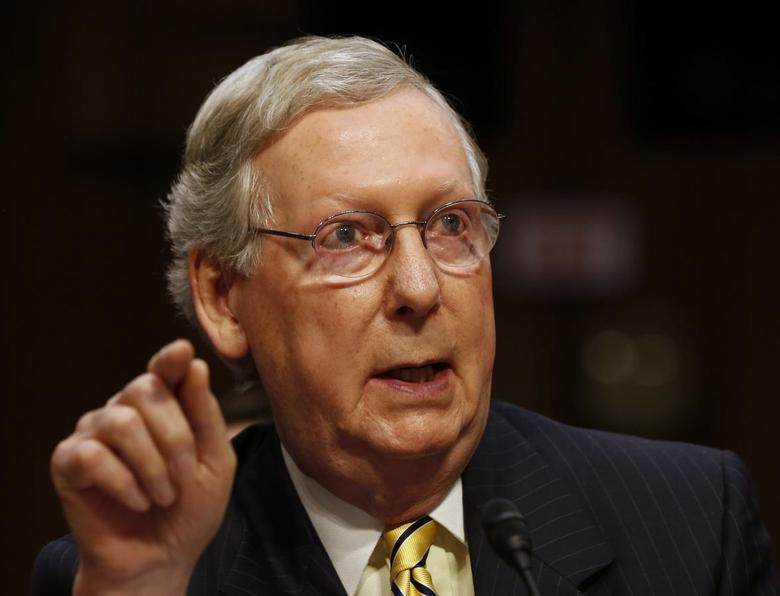 U.S. Senate Minority Leader Mitch McConnell speaks during the Senate Judiciary Committee hearing on campaign finance reform on Capitol Hill in Washington, June 3, 2014. REUTERS/Larry Downing