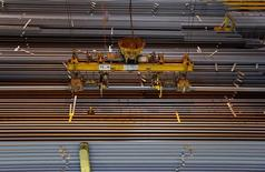 Rails ready for shipping are seen at the Tata Steel rails factory in Hayange, Eastern France, September 25, 2013. REUTERS/Vincent Kessler