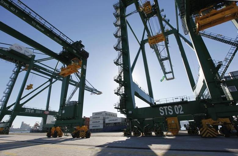 A ship loaded with containers is anchored next to port cranes during the inauguration of a port in Mariel on the outskirts of Havana January 27, 2014.  REUTERS/Claudia Daut