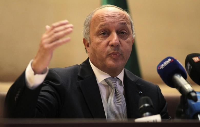 France's Foreign Minister Laurent Fabius addresses a news conference with his Algerian counterpart Ramtane Lamamra (not pictured) in Algiers June 8, 2014. REUTERS/Louafi Larbi